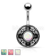 Imitaion Opal Glitter Centered Tribal Pattern 316L Surgical Steel Belly Button Rings