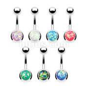 70pcs Opal Glitter Set 316L Surgical Steel Belly Button Navel Ring Bulk Pack (10pcs x 7 Colors)