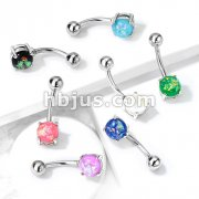 Opal Glitter Prong Set 316L Surgical Steel Belly Button Rings