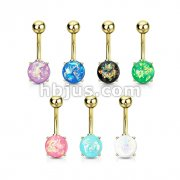 70pcs Opal Glitter Prong Set Gold IP Over 316L Surgical Steel Belly Button Ring Bulk Pack (10pcs x 7 Colors)