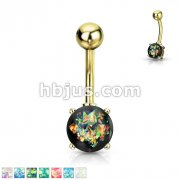 Opal Giltter Prong Set Gold IP Over 316L Surgical Steel Belly Button Rings