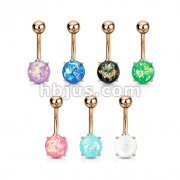 70pcs Opal Glitter Prong Set Rose Gold IP Over 316L Surgical Steel Belly Button Ring Bulk Pack (10pcs x 7 Colors)