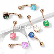 Opal Glitter Prong Set Rose Gold IP Over 316L Surgical Steel Belly Button Rings