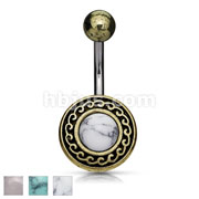 Antique Gold Plated Tribal Shield with Semi Precious Stone Center 316L Surgical Steel Belly Rings