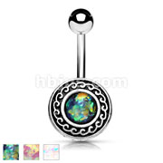 Antique Silver Plated Tribal Shield with Opal Glitter Center 316L Surgical Steel Belly Rings