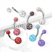 Internally Threaded 316L Surgical Steel Belly Rings with Epoxy Covered Crystal Paved Balls