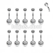 50pcs Internally Threaded 316L Surgical Steel Clear Double Jeweled Belly Ring 50pcs Bulk Pack