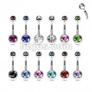 Internally Threaded 316L Surgical Steel Double Jeweled Belly Ring Bulk Pack 120 Pcs