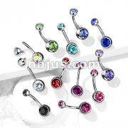 Internally Threaded Double Clear Gem Ball Navel Ring 316L Surgical Steel