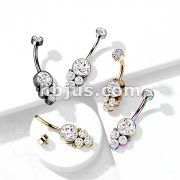 Round Cluster CZ Set with Internally Threaded CZ Top 316L Surgical Steel Belly Rings