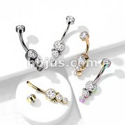 Triple CZ Round Cluster Dropdown with Internally Threaded CZTop 316L Surgical Steel Belly Rings