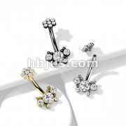 5 CZ Butterfly and Ball Cluster with Internally Threaded CZ Top 316L Surgical Steel Belly Rings