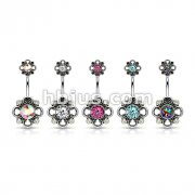 50 Pcs Floral Filigree Double Flower 316L Surgical Steel Belly Button Navel Rings Bulk Pack (10pcs x 5 Colors)