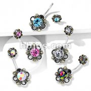 Floral Filigree Double Flower Top 316L Surgical Steel Belly Button Navel Rings