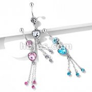 Heart CZ and Chains with CZ Dangle 316L Surgical Steel Belly Button Navel Rings