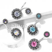CZ Center Tribal Pattern and CZ Center Tribal Top 316L Surgical Steel Belly Button Navel Rings