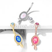 Snake Wrapped Around Opal Glitter Center 316L Surgical Steel Belly Button Navel Rings