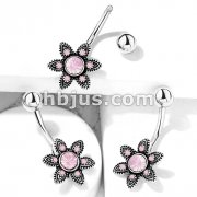 Pink Opalite Crystal Paved Flower 316L Surgical Steel Belly Button Navel Rings