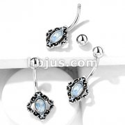 White Opalite Crystal Centered Filigree Square 316L Surgical Steel Belly Button Navel Rings