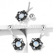 White Opalite Crystal Set Flower 316L Surgical Steel Belly Button Navel Rings
