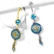 Aztec Turquoise Paved Circle and Feather Dangle 316L Surgical Steel Jeweled Ball Belly Button Navel Rings