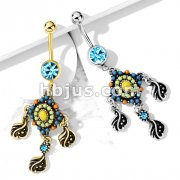 Tribal Bead Paved with Filigree and Crystal Dangle 316L Surgical Steel Jeweled Ball Belly Button Navel Rings