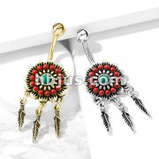 Tribal Flower with Turquoise Center and Feather Dangles 316L Surgical Steel Belly Button Navel Rings