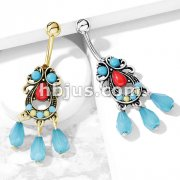 Turquoise Set Tribal Filigree with Beads Dangle 316L Surgical Steel Belly Button Navel Rings