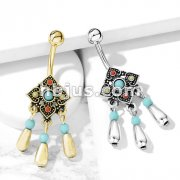 Tribal Square Flower with Turquoise Center and Beads Dangle 316L Surgical Steel Belly Button Navel Rings