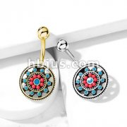 Turquoise Enamel and Beads Aztec Tribal Sun 316L Surgical Steel Belly Button Navel Rings