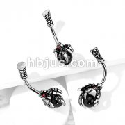 Dragon Claw with Red Crystals Holding Black Ball 316L Surgical Steel Belly Button Navel Rings