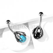 Dragon Claw Holding Ball with Black Crystal Set Top 316L Surgical Steel Belly Button Navel Rings