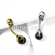 Claw Holding Black Ball with Skull Top 316L Surgical Steel Belly Button Navel Rings