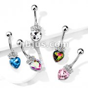 Heart Crystal and Crystal Set Tiara 316L Surgical Steel Belly Button Navel Rings