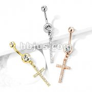 Crystal Paved Cross Dangle Double Jeweled 316L Surgical Steel Belly Button Navel Rings