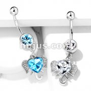 Heart CZ Set Elephant Dangle 316L Surgical Steel Belly Button Navel Rings