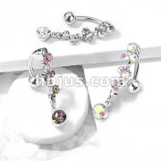 Cascading Crystal Set Bubbles Dangle Top Drop 316L Surgical Steel Belly Button Rings