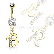 Gold Plated Initial Dangle Navel Ring