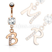 Rose Gold Plated Initial Dangle Navel Ring