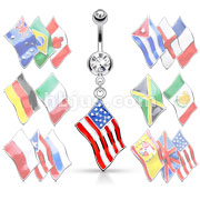 National Flag Dangle Double Jeweled 316L Surgical Steel Belly Button Rings