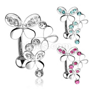 Triple Gemmed Butterflies with 316L Surgical Steel Top Down Navel