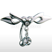 Hinged Tribal Wing CZ Dangle 316L Surgical Steel Top Down Navel Ring