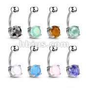 80 Pcs 316L Surgical Steel Navel Rings with Prong set Semi-Precious Stones Bulk Pack (20pcs x 8 colors)