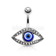 Lucky Eye with Paved Stone Around Belly Button Rings