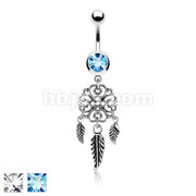 Heart Filigree Dream Catcher Dangle 316L Surgical Steel Jeweled Ball Belly Button Rings