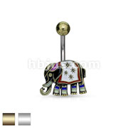 Elephant with Enamel Colored and Antique Plated 316L Surgical Steel Belly Button Rings