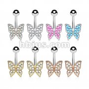 48 Pcs CZ Paved Butterfly 316L Surgical Steel Belly Button Navel Rings Bulk Pack (6 pcs x 8 Colors)