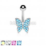 Crystal Paved Butterfly 316L Surgical Steel Belly Button Navel Rings