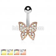 IP Gold and Rose GoldOver Crystal Paved Butterfly 316L Surgical Steel Belly Button Navel Rings