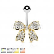 Crystal Paved Ribbon 316L Surgical Steel Belly Button Navel Rings